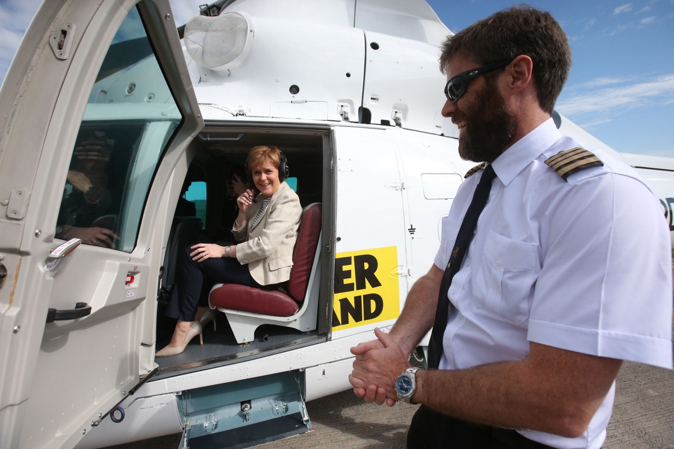 Nicola Sturgeon in a helicopter