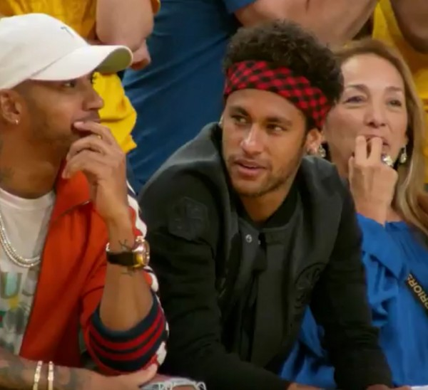 Lewis Hamilton and Neymar at the NBA Finals