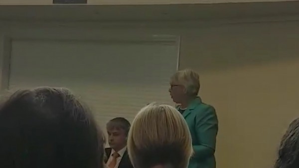 Conservative candidate Sheryll Murray is booed at an election hustings