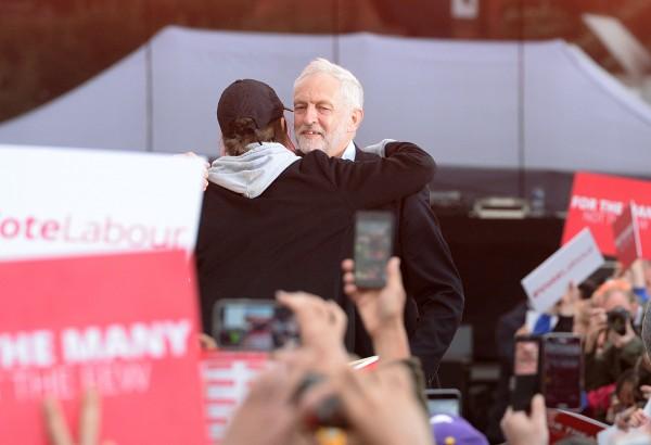 Saffiyah Khan and Jeremy Corbyn