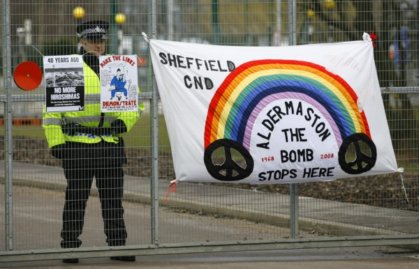Anti-nuclear protesters take part in a demonstration