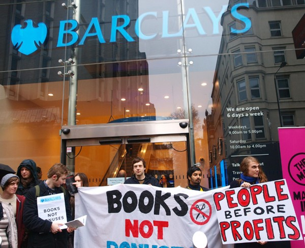 Supporters of UK Uncut gather outside Barclays Bank