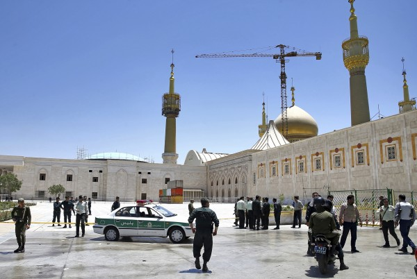Police at the shrine of late Iranian revolutionary founder Ayatollah Khomeini (Ebrahim Noroozi/AP)