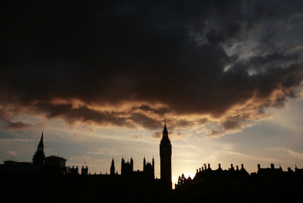 A silhouette of the Houses of Parliament and Elizabeth Tower