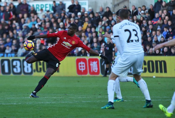 Paul Pogba scores for Manchester United against Swansea City