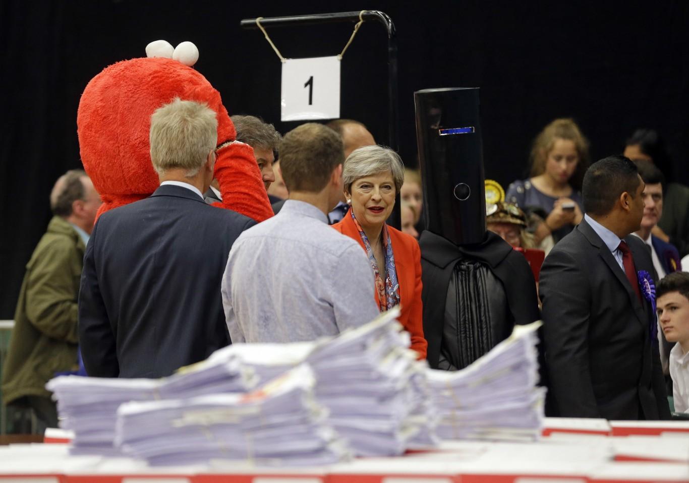 Theresa May and Lord Buckethead
