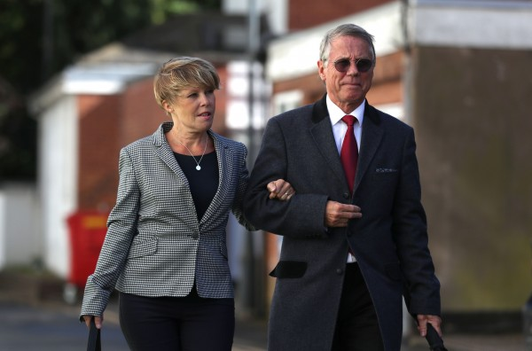 Former BBC radio presenters Tony and Julie Wadsworth leave Warwick Crown Court in Leamington Spa, where they are accused of encouraging boys to take part in sexual activity in wooded areas of Warwickshire between 1992 and 1996.