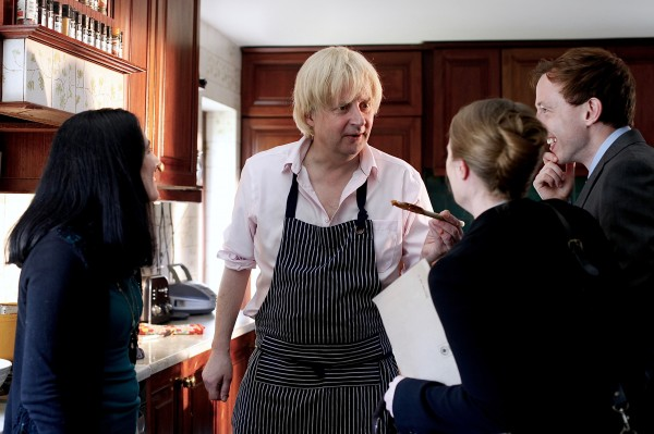 actor Will Barton portraying Boris Johnson holding a curry night in the BBC Two drama documentary Theresa vs. Boris: How May became PM. (Katherine Edwards/Juniper Commun/Press Association Images).