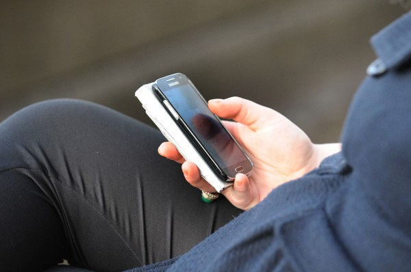 Using smartphone.