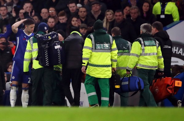 Hull City's Ryan Mason is stretchered off the pitch