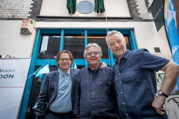 Robert Elms, George Underwood and Billy Bragg