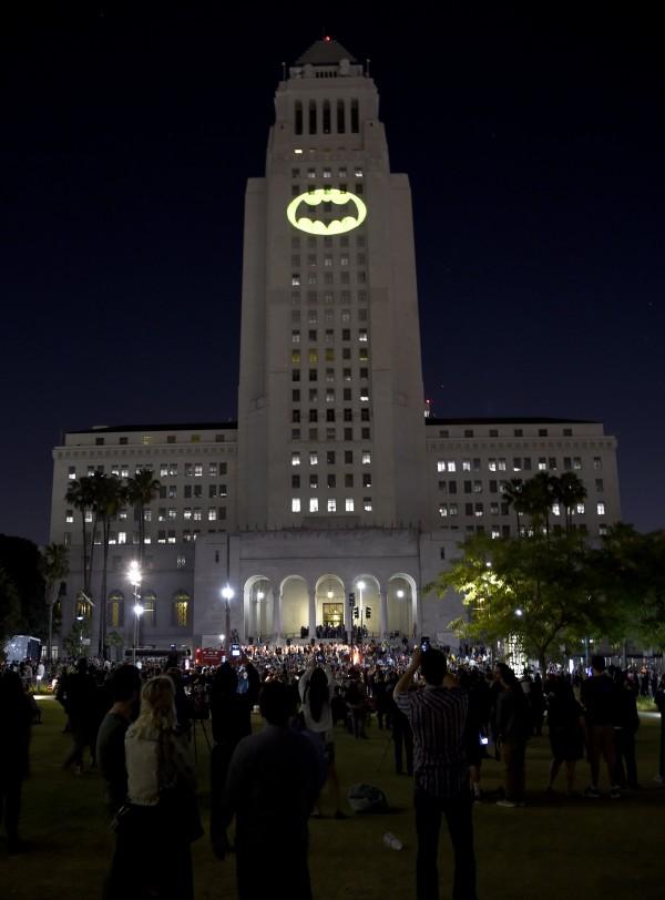 The Bat-Signal lights up LA City Hall