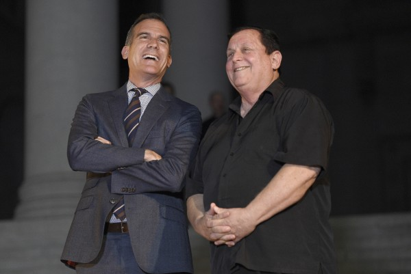 LA mayor Eric Garcetti with Burt Ward