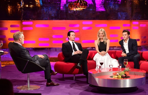 Mark Wahlberg, Sienna Miller and Tom Holland filming Graham Norton's show