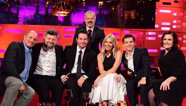 Woody Harrelson, Andy Serkis, Mark Wahlberg, Graham Norton (behind), Sienna Miller, Tom Holland and Alison Moyet during filming of the Graham Norton Show (Ian West/PA)
