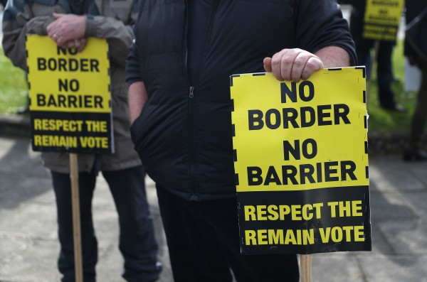 Anti-Brexit campaigners protest outside Stormont in Belfast