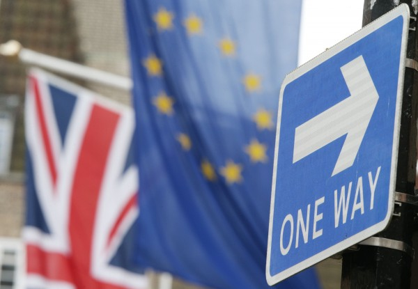 A Brexit stock image with a one way sign