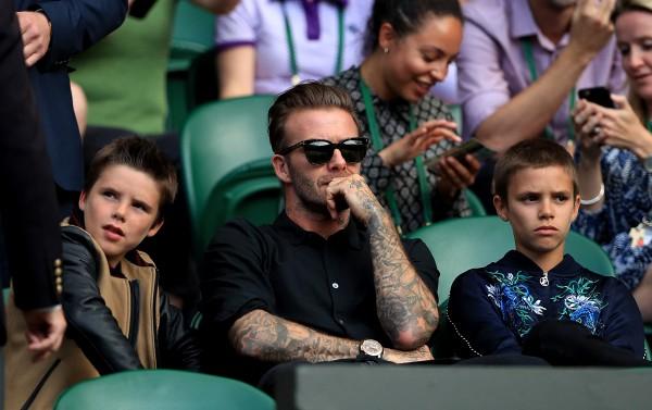 David Beckham and his sons Romeo and Cruz