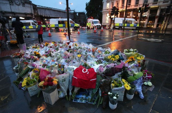 Flowers near London Bridge following Saturday's terrorist attack.