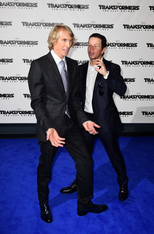 Michael Bay and Mark Wahlberg (Ian West/PA)