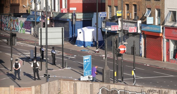 A police forensic tent erected at Finsbury Park (Yui Mok/PA)