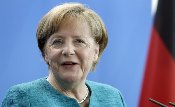 German Chancellor Angela Merkel speaks during joint press conference