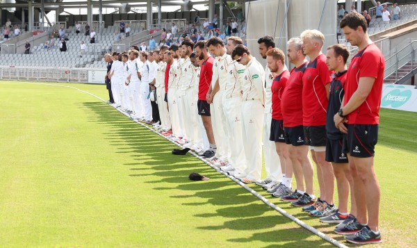 Cricketers pay respects (Martin Rickett/PA)