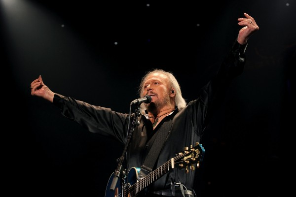 Barry Gibb on stage during the opening night of the UK leg of his first ever solo tour at the LG Arena in Birmingham.