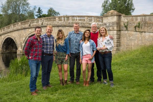 The presenters at Blenheim Palace (BBC)