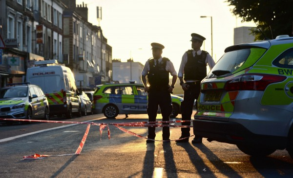 Police officers man a cordon in Finsbury Park
