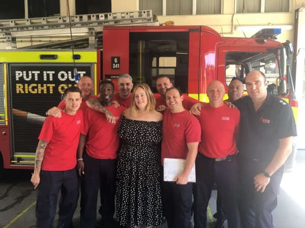 Adele also took part in the minute's silence with the firefighters (London Fire Brigade)