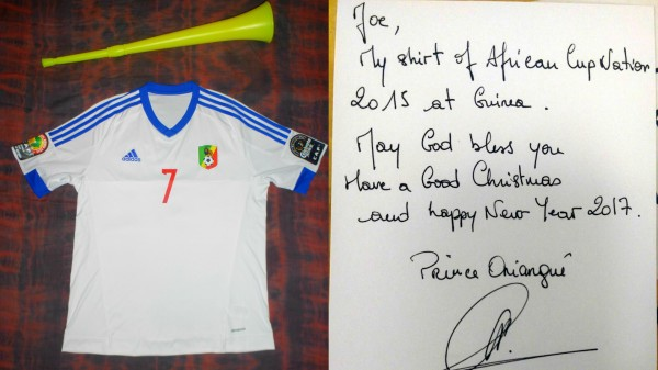 Prince Oniangue's football shirt
