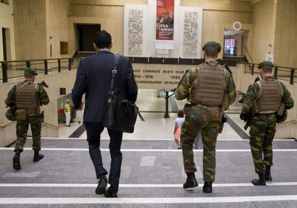 Belgian Army soldiers patrol inside Central Station