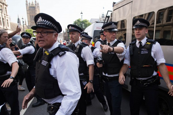 Queen's speech protest.