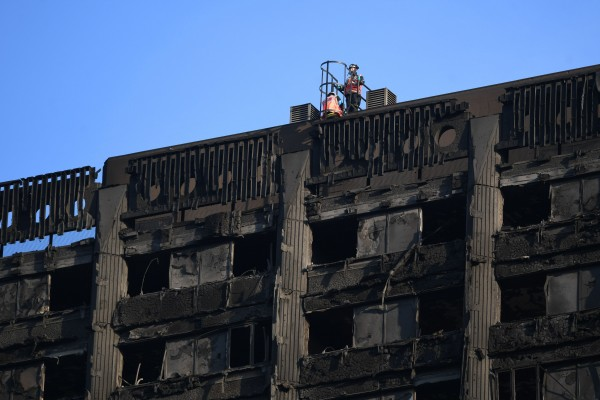 Tower block fire in London.