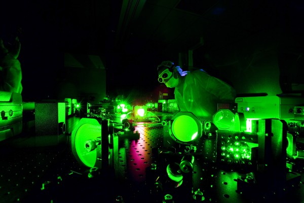 A technician adjusts the new Diocles Laser in the Extreme Light Laboratory at the University of Nebraska-Lincoln