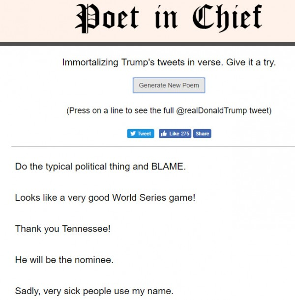A poem made out of Donald Trump tweets