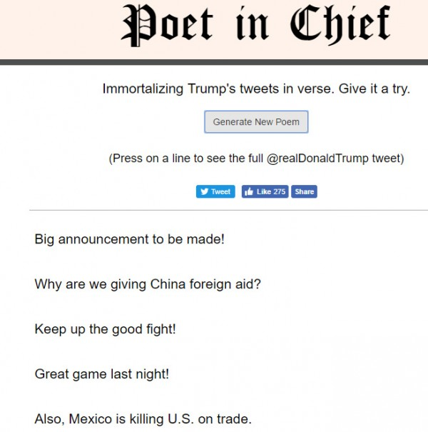 Poems made by Donald Trump tweets